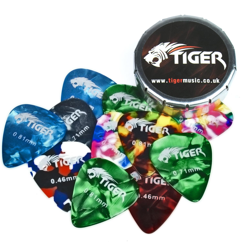 Tiger Guitar Plectrums With 2 Pick Storage Tins   24 Medium Guitar Picks
