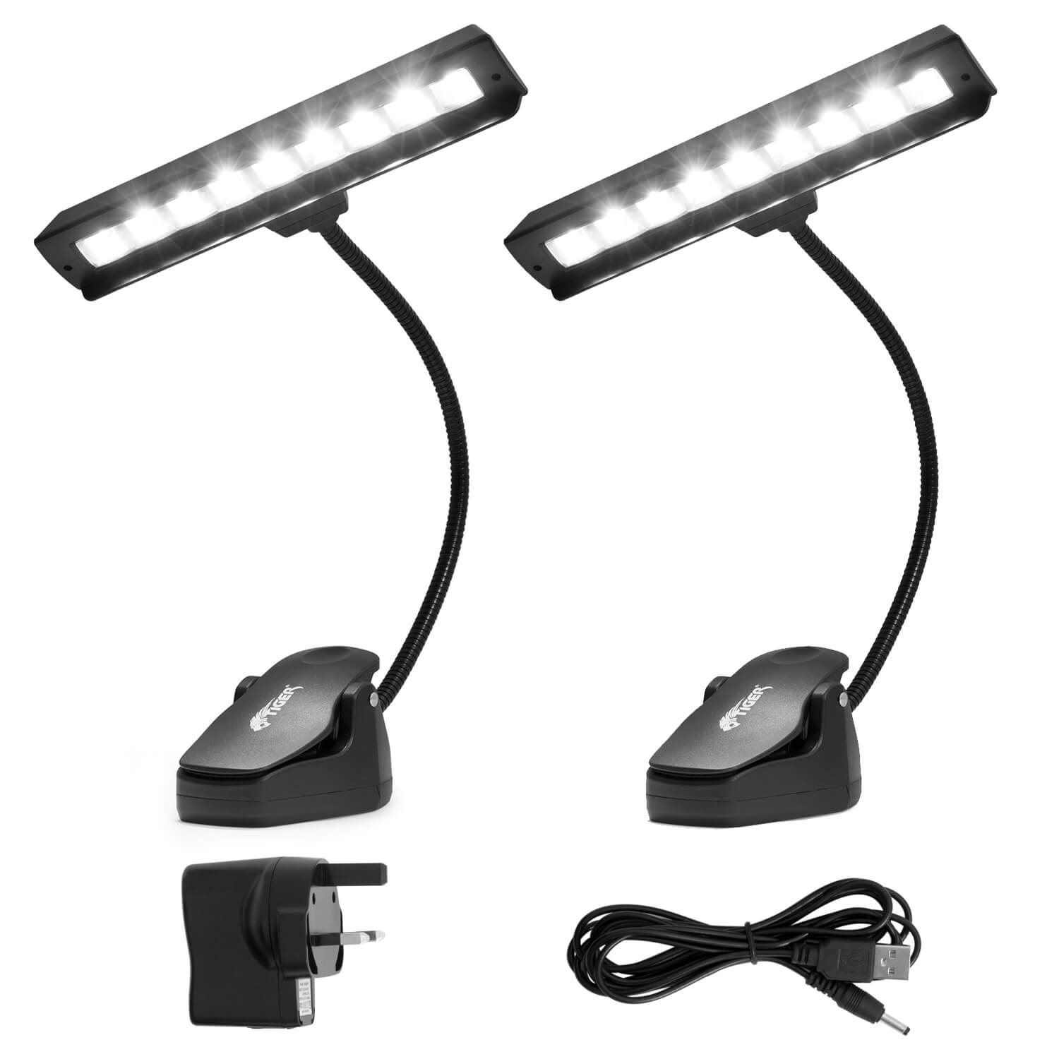 Tiger Orchestral Music Stand Light Pack of 2 - 9 High Quality LEDs