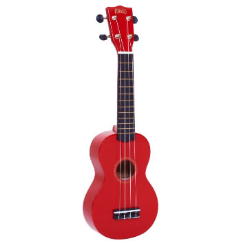 Mahalo Beginners MR1 - 2511 - Left Handed Soprano Ukulele in Red with Aquila Strings & Bag