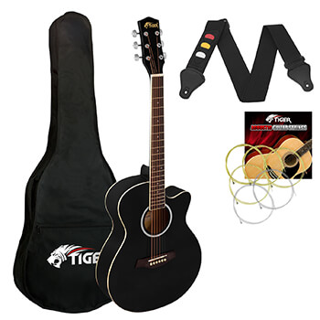 Tiger 3/4 Size Acoustic Guitar for Beginners Guitar - Black
