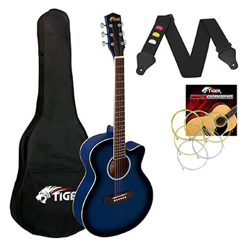 Tiger 3/4 Size Acoustic Guitar for Beginners Guitar - Blue