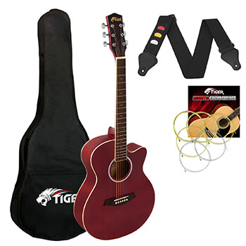 Small Body Acoustic Guitar for Beginners Guitar - Red