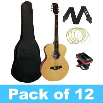 Tiger Acoustic Guitar for Beginners - Pack of 12 with 2 Tuners