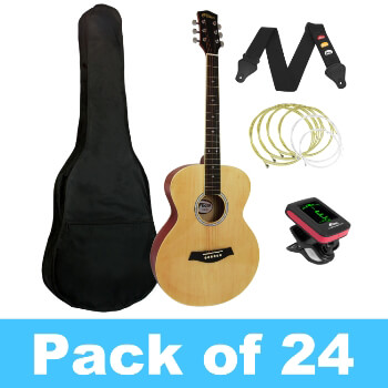Tiger Acoustic Guitar for Beginners - Pack of 24 With 4 Tuners