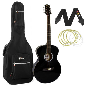Tiger Black Acoustic Guitar Package with Padded Bag