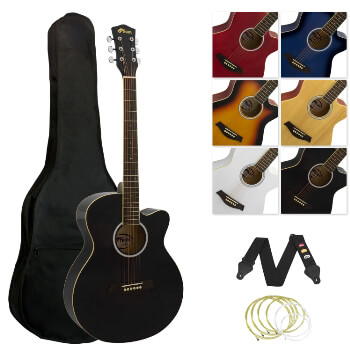 Tiger Full Size Acoustic Beginners Guitar Pack, with Bag, Strap & Strings - Black