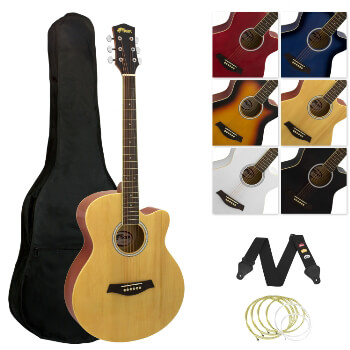 Tiger Full Size Acoustic Beginners Guitar Pack, with Bag, Strap & Strings - Natural