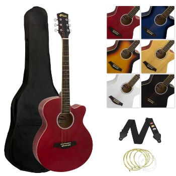 Tiger Full Size Acoustic Beginners Guitar Pack, with Bag, Strap & Strings - Red