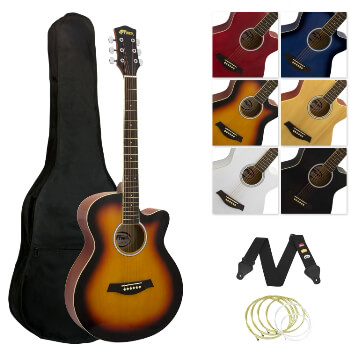 Tiger Full Size Acoustic Beginners Guitar Pack, with Bag, Strap & Strings - Sunburst