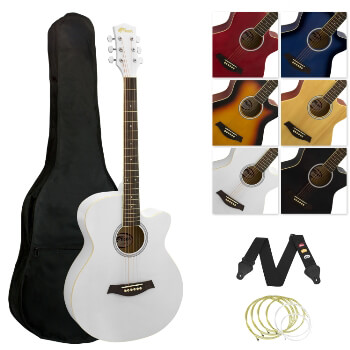 Tiger Full Size Acoustic Beginners Guitar Pack, with Bag, Strap & Strings - White