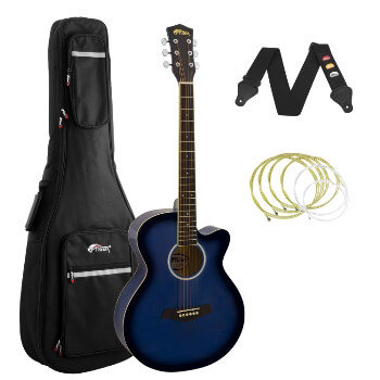 Tiger Blue Acoustic Guitar Pack for Students with Padded Bag