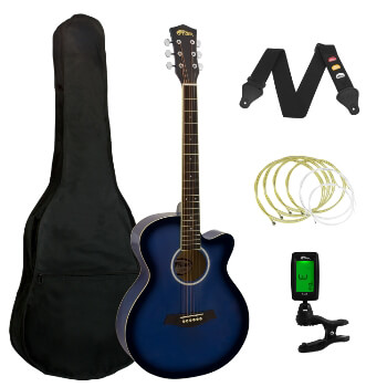 Tiger Blue Acoustic Guitar Pack for Students - Including FREE Tuner