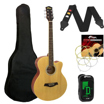 Tiger Natural Acoustic Guitar Pack for Students - Including FREE Tuner