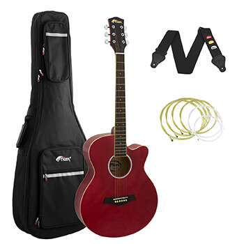 Tiger Red Acoustic Guitar Pack for Students with Padded Bag