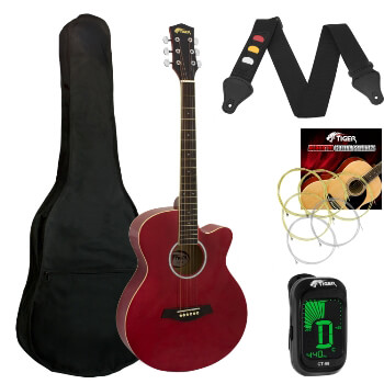 Tiger Red Acoustic Guitar Pack for Students - Including FREE Tuner