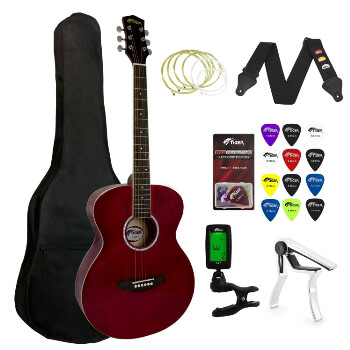 Tiger Beginners Acoustic Guitar Package - Red