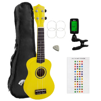 Beginners Soprano Ukulele in Yellow & Clip-On Tuner Kit