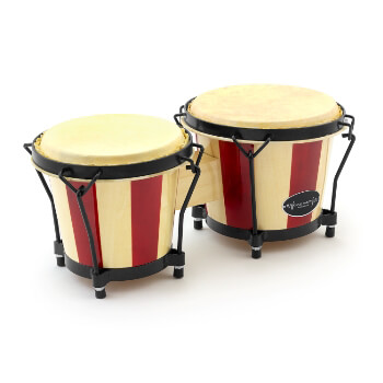 "World Rhythm BON14 Wooden Bongos – 6"" & 7"" Heads in Natural and Red Stripe Finish"