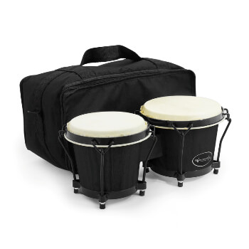 6 and 7 inch Bongo Drums by World Rhythm - Matte Black Bongos, Hand Drums