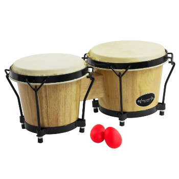 "World Rhythm Bongos 6"" & 7"" Beginners Oak Natural Bongo Drums with Egg Shakers"