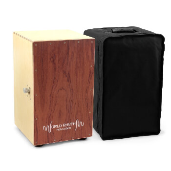 World Rhythm Brown Cajon Box Drum with Adjustable Snare & Padded Bag