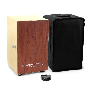 World Rhythm Brown Sandalwood Cajon Drum with Adjustable Snare & Foot Tambourine
