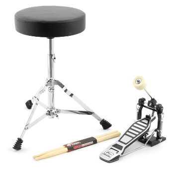 Tiger Electronic Drum accessory Pack with Drum Throne, Bass Drum Pedal & Sticks
