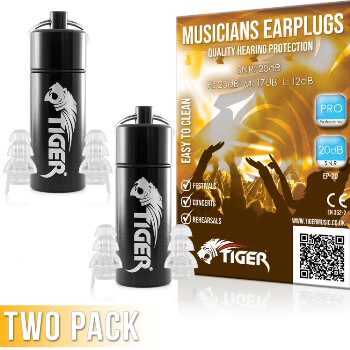 Tiger Professional Musician's Earplugs SNR 20dB – Pack of 2