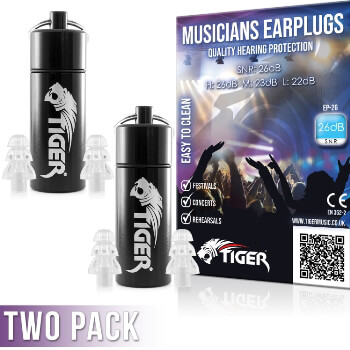Tiger Musicians Earplugs - Hearing Protection Ear Plugs – Pack of 2