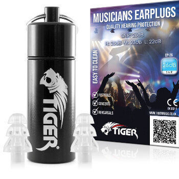 Tiger Musicians Earplugs - Hearing Protection Ear Plugs SNR 26dB