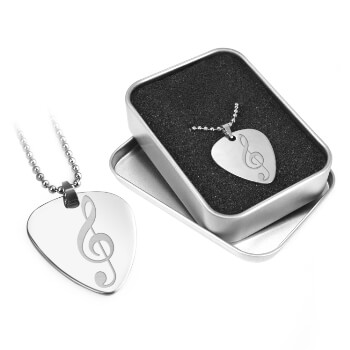 Engraved Guitar Pick - Metal Plectrum & Gift Box - Treble Clef Engraving