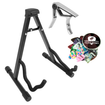 Tiger Guitar Stand, Plectrums and Capo Pack