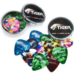 Tiger Guitar Plectrums with 2 Pick Storage Tins - 24 Medium Guitar Picks