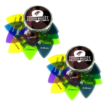 Tiger Guitar Plectrums with Pick Tin - 24 Gel 0.46mm