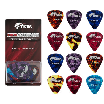 Tiger Celluloid Guitar Picks - Pack of 12 - Variety of Gauges