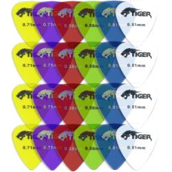 Tiger Gel Guitar Plectrums - Pack of 24 Medium Guitar Picks