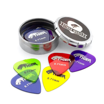 Tiger Guitar Plectrums with Pick Tin - 12 Gel 0.71mm