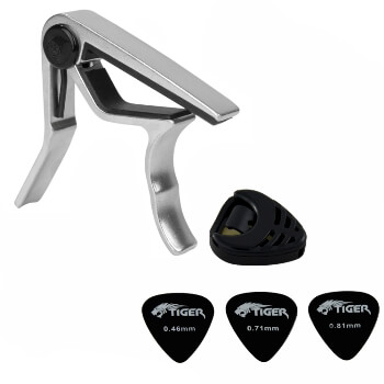 Tiger Universal Trigger Guitar Capo in Chrome with Guitar Plectrums