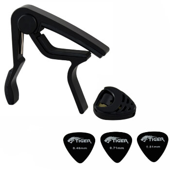 Tiger Universal Trigger Guitar Capo in Black with Guitar Plectrums