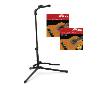 Tiger Universal Guitar Stand & 2 Packs of Classical Guitar Strings