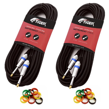 Tiger 6m (20ft) 6.3mm Jack to Jack Guitar Cable - Pack of 2