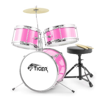 Jasmin 3 Piece Junior Drum Kit - Drum Set for Kids in Pink