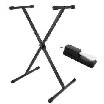 Tiger Folding Single Frame Keyboard Stand & Sustain Pedal Pack