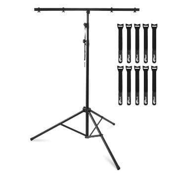 Tiger T-Bar DJ Lighting Stand - Photography Lights Stand with 10 Cable Ties