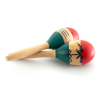 World Rhythm Natural Hand Painted Wooden Maracas - Small