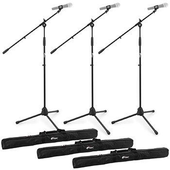 Tiger Pack of 3 Boom Microphone Stands with Bags