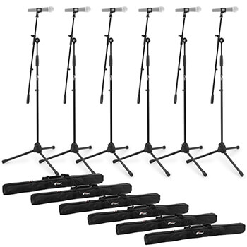Tiger Pack of 6 Boom Microphone Stands with Bags