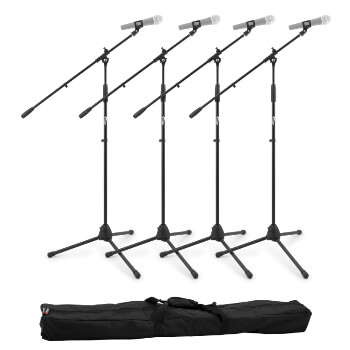 Tiger Boom Microphone Stand with Tripod Base – Pack of 4 with Bag