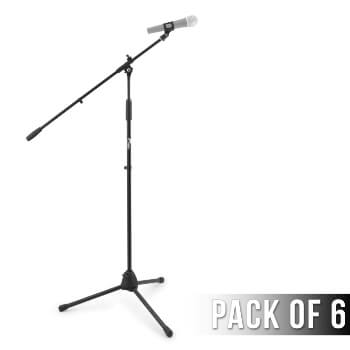 6 Pack of Tiger Professional Black Boom Microphone Stands