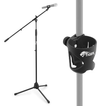 Tiger Professional Black Boom Microphone Stand and Cup Holder with Mic Clip